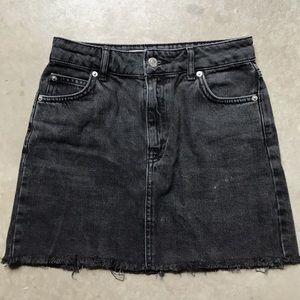 Topshop black denim skirt